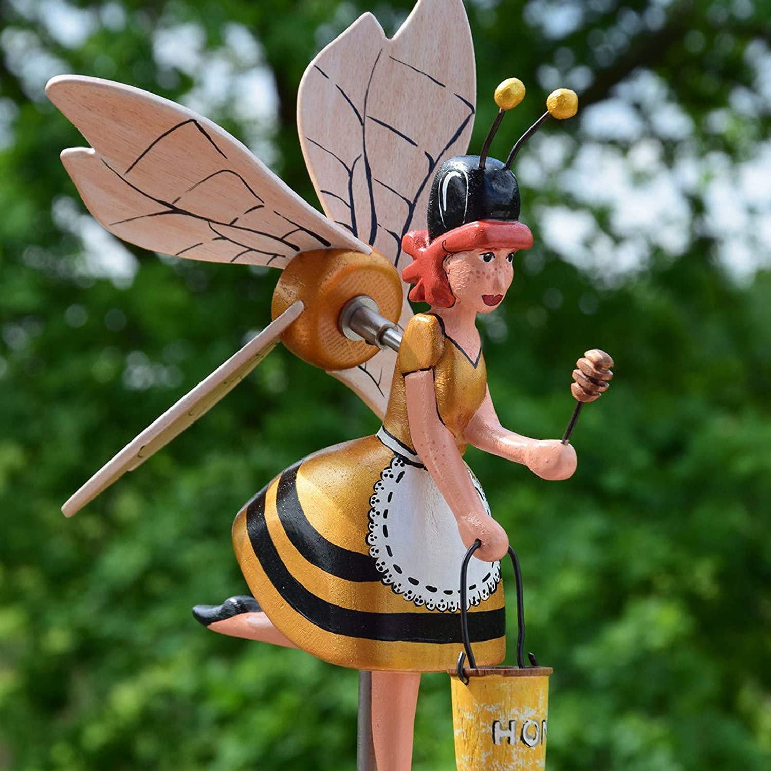 Flying Bee Girl Whirligigs Wind Spinners, Bumble Bee Garden Windmill Art, Rotating Bumblebee Winder Whirligig Bee Statues Decor Stakes for Outdoor Garden Yard Art Patio Decor