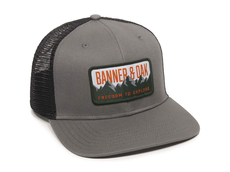 Bighorn Scout Patch Trucker Hat - Adjustable Baseball Cap w/Plastic Snapback Closure Charcoal by Banner & Oak