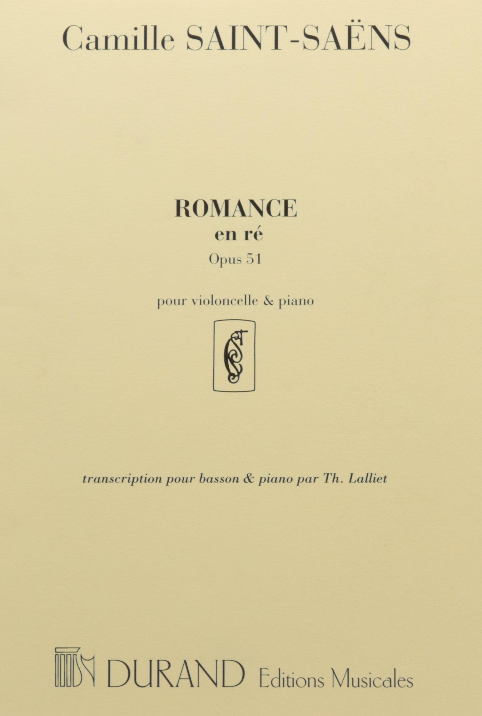 Romance Op 51 Basson-Piano Broché – 1 janvier 2001 Camille Saint-Saëns Durand B00F14JFXS Musique