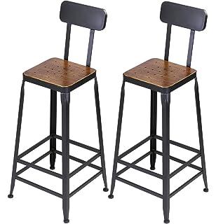 Beau VILAVITA Set Of 2 Pine Wood Bar Stools, Wooden Top With Metal Frame Bar  Stool