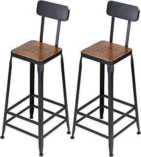 VILAVITA Set of 2 Wood 30  High Square Pine Wood Bar Stools Wooden Top  sc 1 st  Amazon.com & Amazon.com: Vintage Whiskey Barrel Table Black Top w/Chess Board ... islam-shia.org