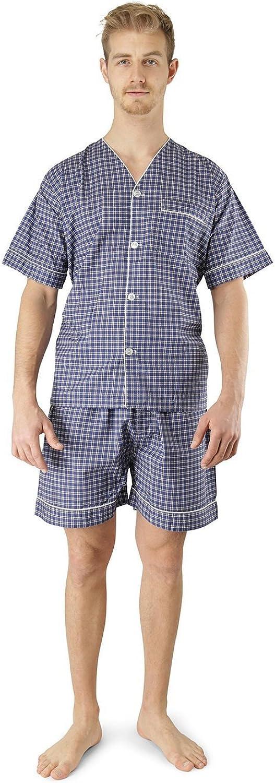 Mens Woven Pajama V-Neck Sleepwear Short Sleeve Shorts and Top Set Sizes S//4XL