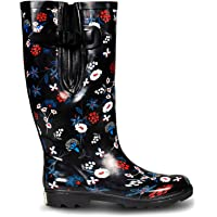 EXTRA TOUCH Wide Calf Rubber Rain Boots Wide Foot and Ankle up to 20 Inch Calf