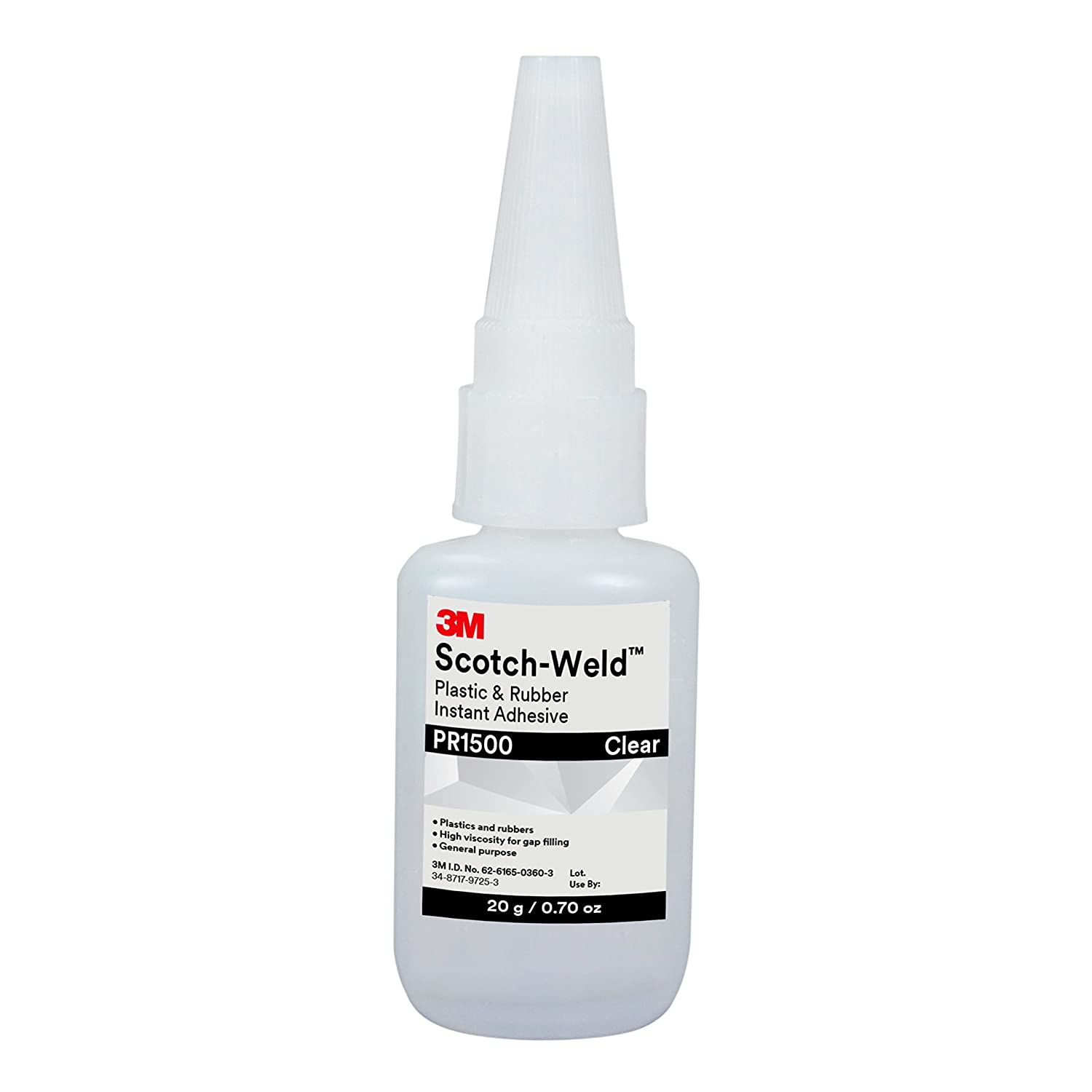 3M Scotch-Weld Plastic & Rubber Instant Adhesive PR1500, Clear, 20 Gram Bottle