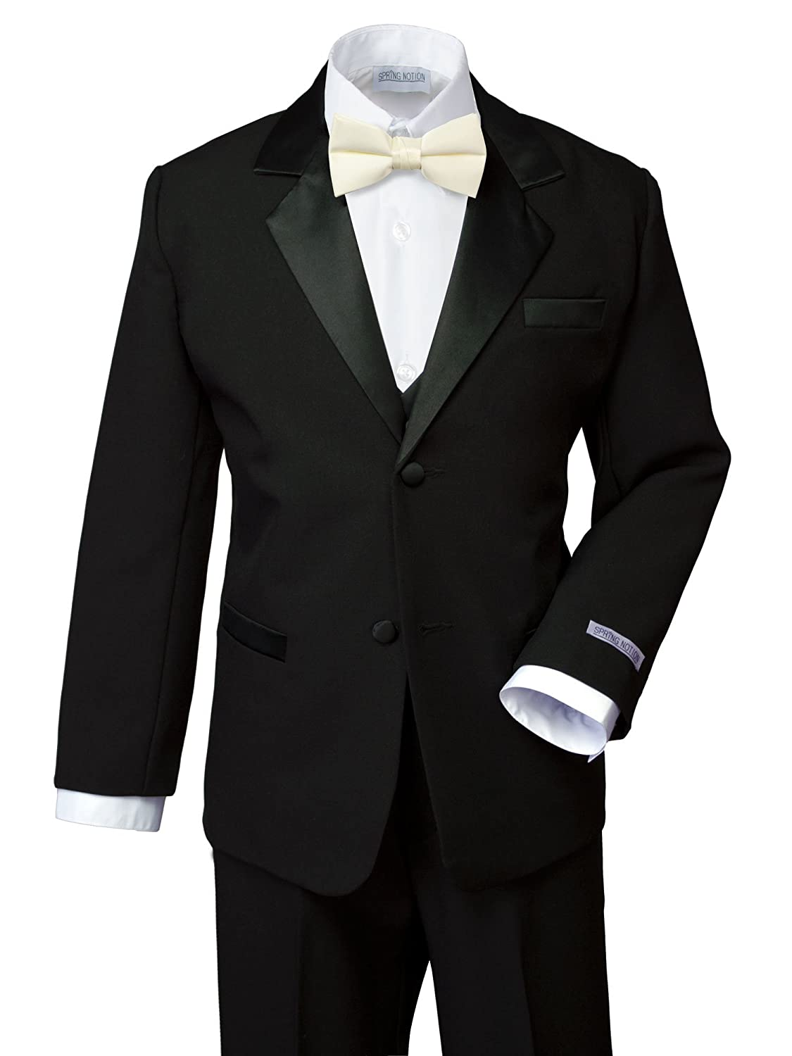 No Tail ERF202-SNS-202.BK-RD Spring Notion Boys Classic Fit Tuxedo Set