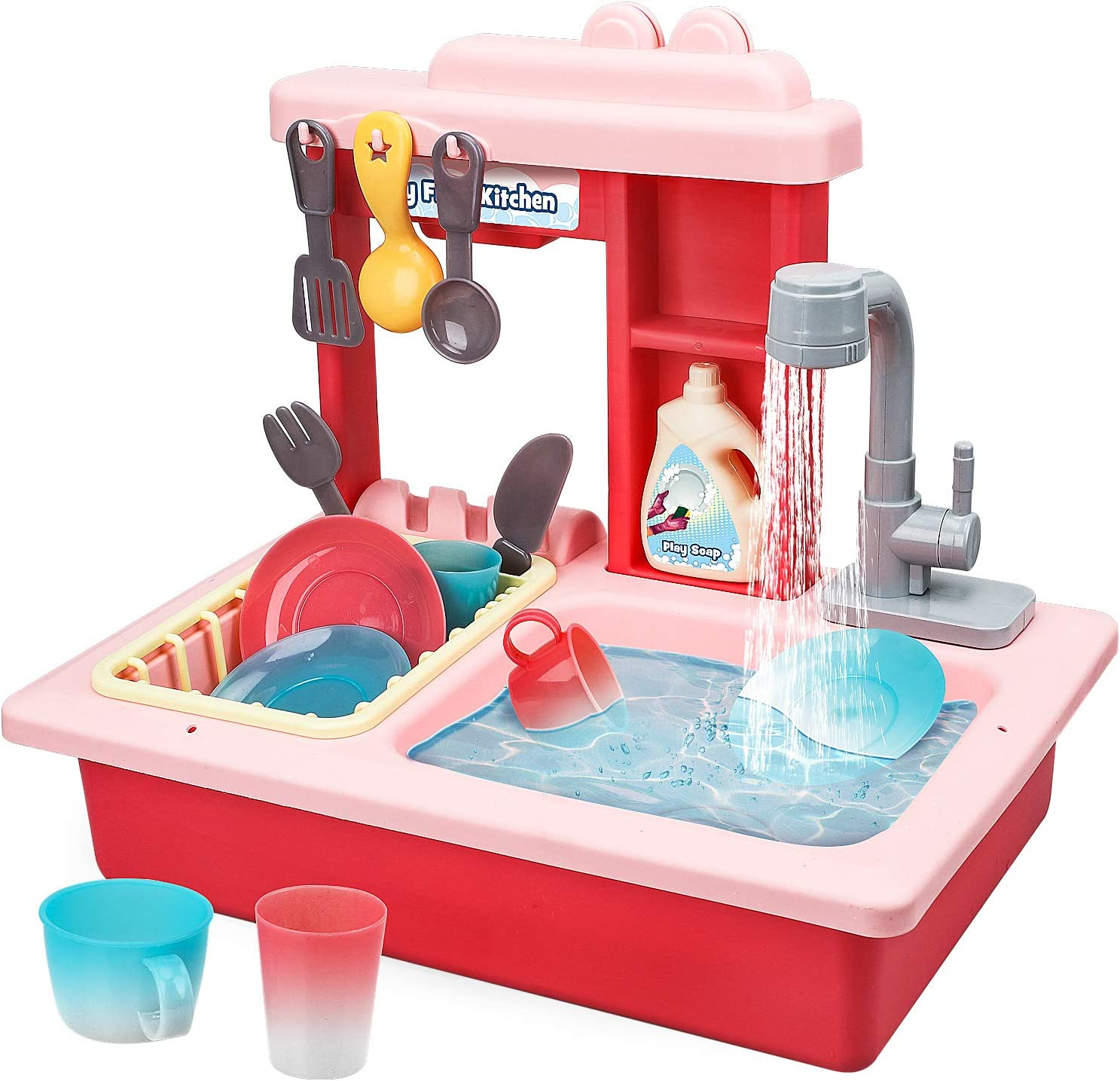 STEAM Life Kitchen Play Sink Toy with Color Changing Toy Dishes - Play Sink with Running Water - Pretend Play Kitchen Toys for Girls and Boys - Kitchen Toddler Sink Toy for Kids (Pink)