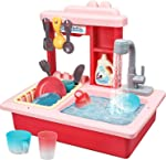 STEAM Life Kitchen Play Sink Toy with Color Changing Toy Dishes