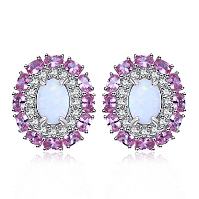 ebe9ecec8 Jewelrypalace Pink Romance 0.5ct Created White Opal Created Pink Sapphire  Halo Stud Earrings 925 Sterling Silver: Amazon.co.uk: Jewellery