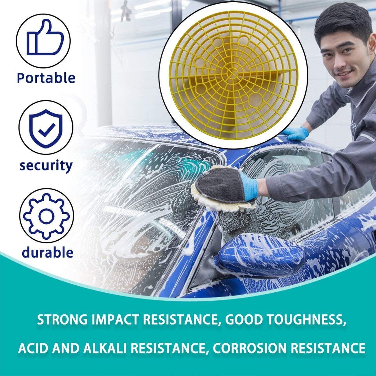 yellow AngellCity Car Wash Grit Guard Sand Stone Isolation Net Insert Washboard Water Bucket Scratch Dirt Filter Car Cleaning Tool 23.5cm