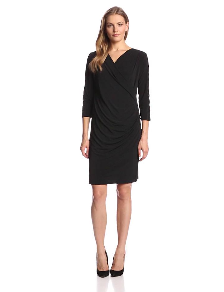 Calvin Klein Women's Long Sleeve Drape Front Dress, Black, X-Small