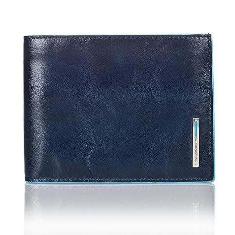 8871c50479 PIQUADRO Blue Square Portafoglio uomo con portamonete in Vera Pelle blu  notte PU1392B2/BLU