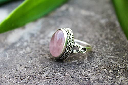 Jewelry Pink stone ring sterling silver 925 Rose quartz Silver ring gift silver ring Rose quartz Handmade silver Ring Indian jewelry