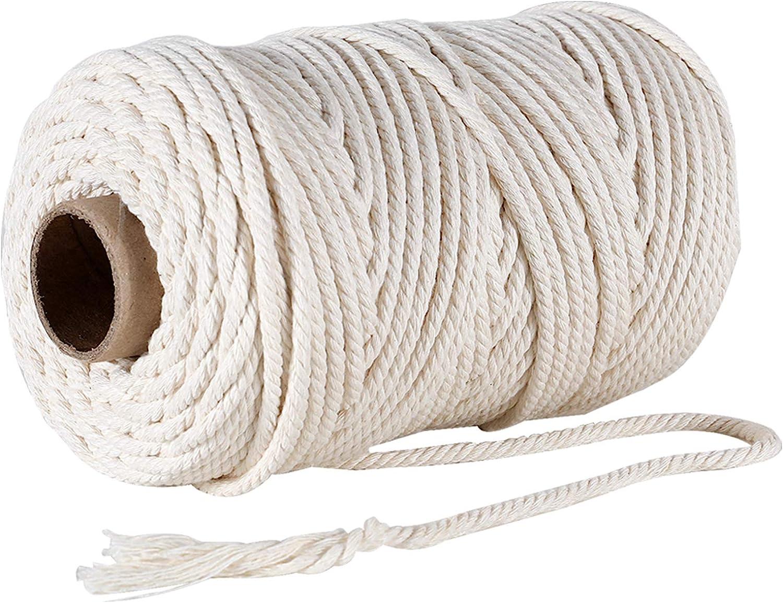 GoMaihe Macrame Cuerda, 4mm x 100m Cordón Hilo de Algodón Natural Colgante de Pared de Macramé, Bricolaje Artesanía Colgante de Pared Colgador de Planta Tejido Cordón Tejer Decoración Envolver, Beige