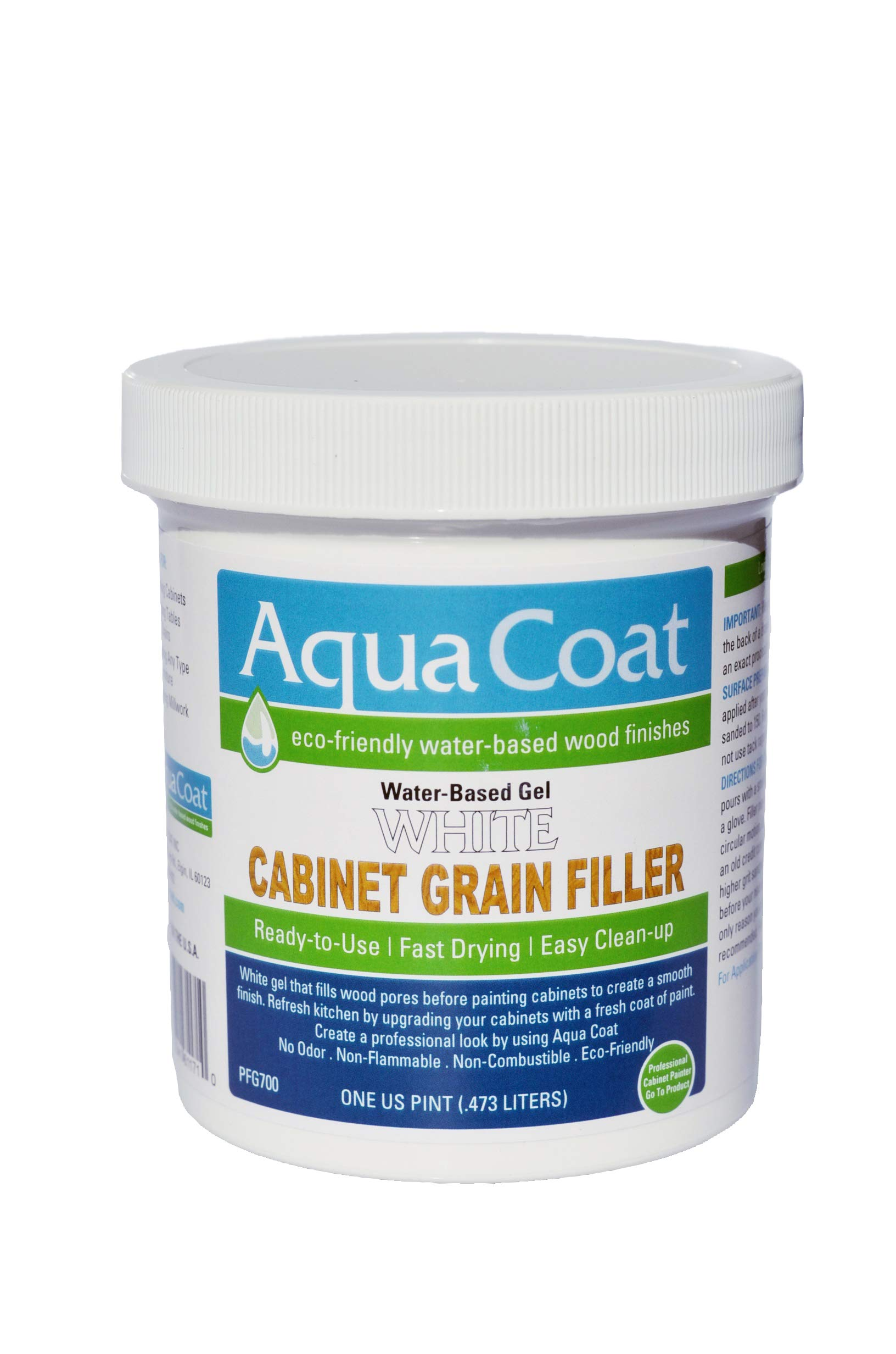 Aqua Coat,Best White Cabinet Wood Grain Filler, White Gel, Water Based, Low Odor, Fast Drying, Non Toxic, Environmentally Safe. Pint. by Aqua Coat Inc. (Image #1)