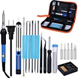 Slowton Electric Soldering Kit, Adjustable Temperature Soldering Iron with 5 Point Tool Carrying Box 2 Clamps for…