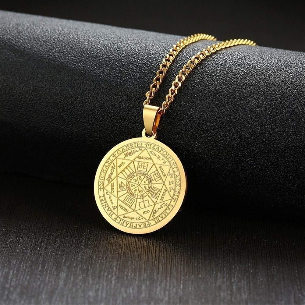 Metal Color : Black Color YUNGYE Collier for Homme en Acier Inoxydable Couleur Or Les sceaux des Sept archanges Sigil Pendentif