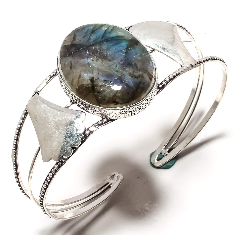 Adjustable Size Cuff Bracelet Stunning Labradorite Gemstone Bangle Kada Handmade 925 Sterling Silver Plated Jewelry SF-1602