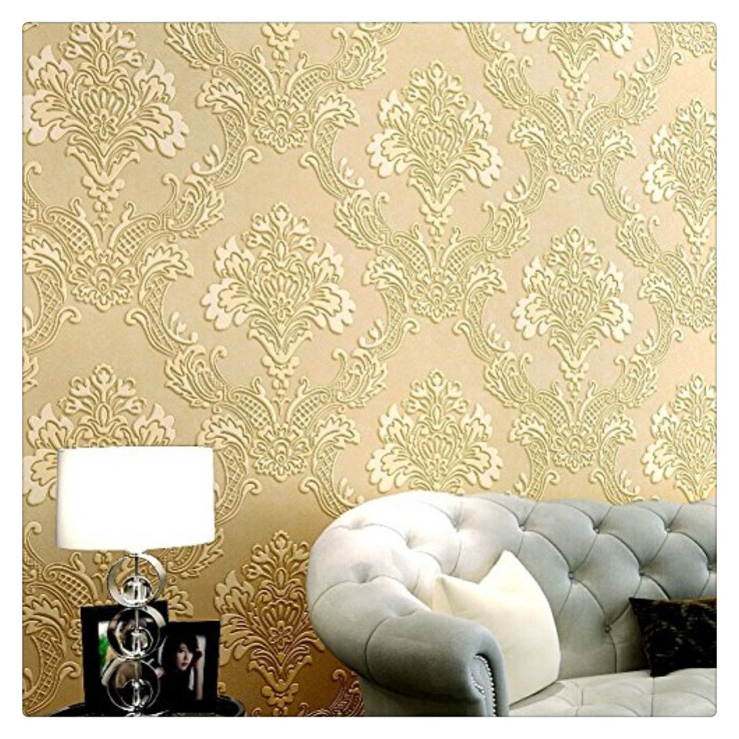 HaokHome 1011 Luxury Damask Flocking Textured Wallpaper Roll Cream/Yellow Modern Home Room Decoration 20.8'' x 393.7''
