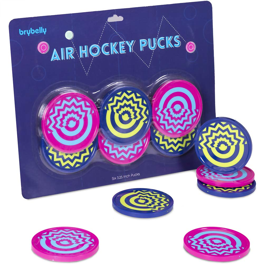 Vivid Two-tone Air Hockey Pucks (6-pack) | Wear-proof Molded Psychedelic Patterns and Designs | Large 3.25-inch Pucks for Standard Air Hockey Tables | Perfect Addition to Game Rooms and Arcades by Brybelly