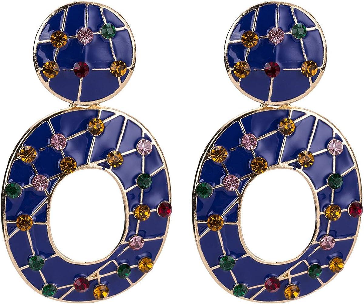 MDGWM Pendientes de Diamantes de aleación exquisitos, Elegante Forma de Anillo geométrico, Color Fascinante, 7,9 * 4,3 cm Azul