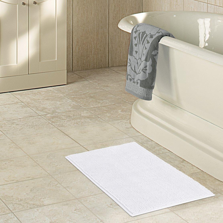 """Lifewit 32""""x20"""" Bath Mat Non Slip Microfiber Shaggy Chenille Bath Rugs Bathroom Shower Mats Rug White"""