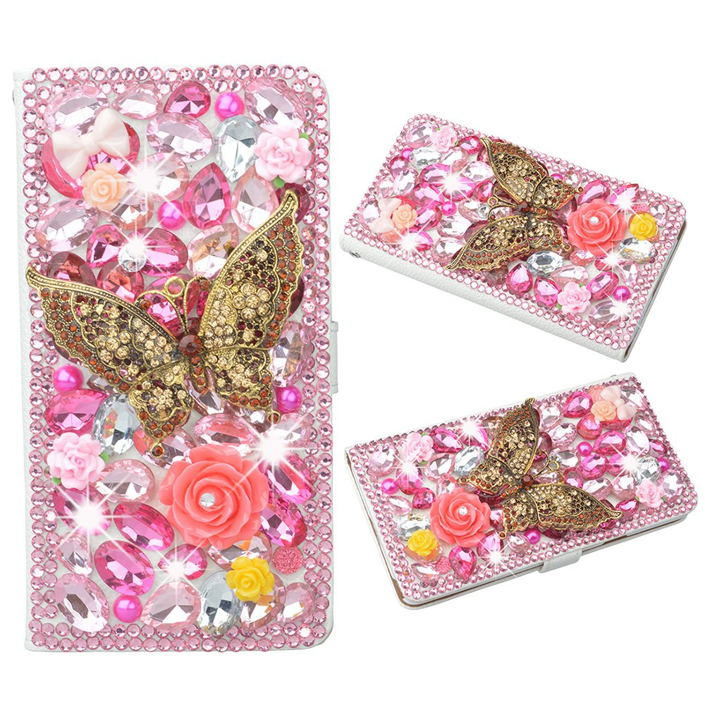 Evtech(tm) Butterfly Pink Rhinestone Bling Crystal Glitter Book Style Folio PU Leather Wallet Case with Handbag Phone Holder & Card Slots for Samsung Galaxy Note 3