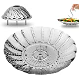 "Vegetable Steamer Basket - 5.3"" Expands to 9"" - All Stainless Steel - Extra Longer Feet by AMFOCUS"