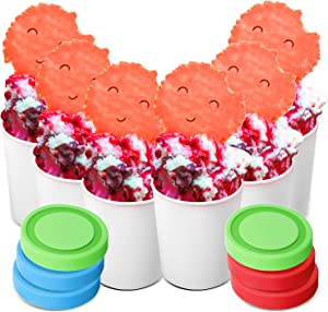 6 Pieces Mini Reusable Ice Cream Container Home Ice Cream Freezer Storage for Cream Mousse Yogurt Ice Cream (8.45 oz)