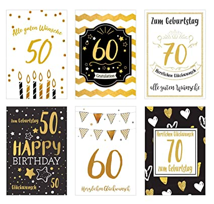 Juego 6 exclusiva Tarjetas de cumpleaños con detalles de oro ...