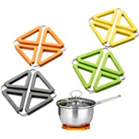 4PCS Silicone Trivet Mat Expandable Hot Pot Holder With Stainless Steel Frame For Home Kitchen Heat Resistant, Non-Stick…