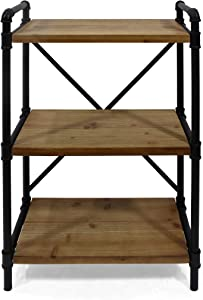 Christopher Knight Home Bethany Industrial Three Shelf Bookcase, Black and Antique Brown Finish