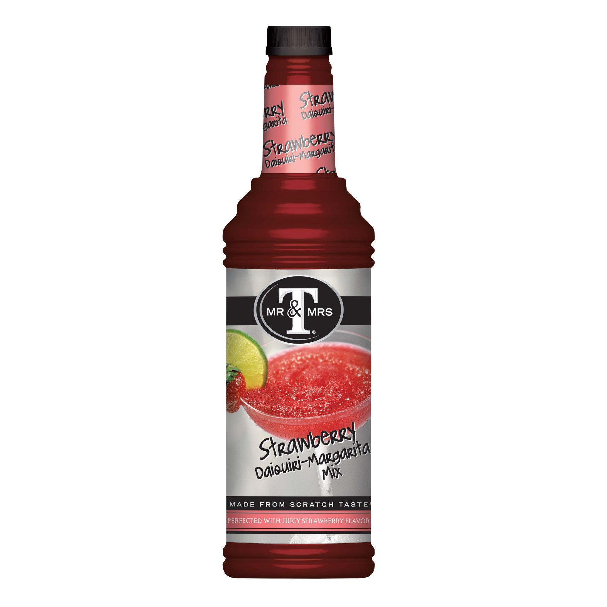 Mr. & Mrs. T Strawberry Daiquiri Margarita Mix, 33.81-Ounce Bottles (Pack of 6)