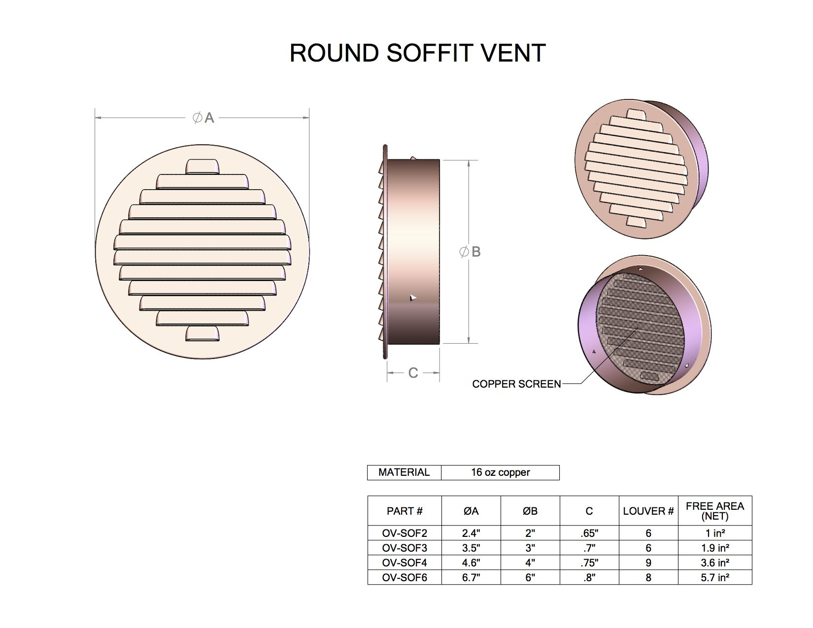 4'' Round Louvered Copper Insert Vent with Screen