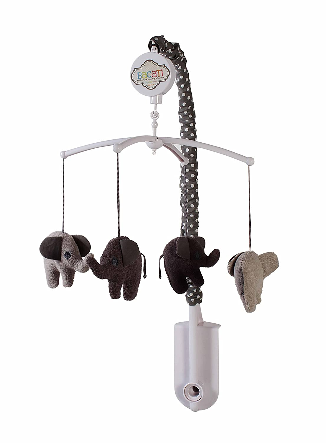 Bacati Elephants Unisex Musical Mobile Playing Brahms Lullaby for Attaching to US Standard Cribs, Grey