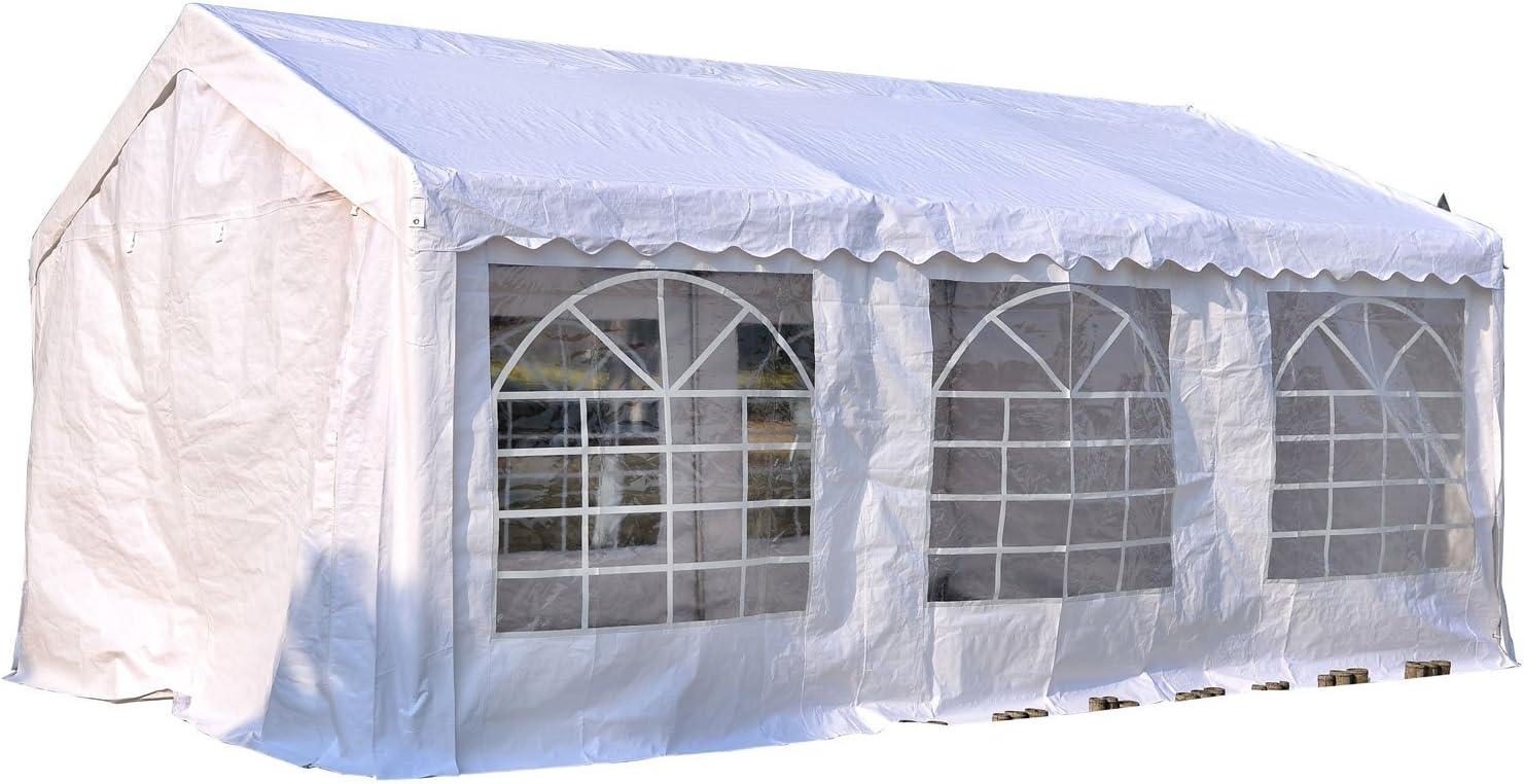 6m x 4m x2.8m Outsunny Gazebo da Esterno Tendone per Feste Matrimonio Telaio in Acciaio Bianco