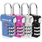 Fosmon TSA Approved Luggage Locks, (4 Pack) Open Alert Indicator 3 Digit Combination Padlock Codes with Alloy Body and release button for Travel Bag, Suit Case & Luggage - Black, Blue, Pink, and Silver