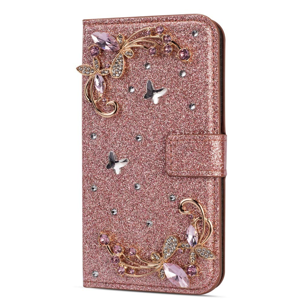 Amocase Glitter Case with 2 in 1 Stylus for Samsung Galaxy A8 Plus 2018,Luxury Diamond 3D Crystal Butterfly Flower Magnetic Wallet Leather Stand Case for Samsung Galaxy A8 Plus 2018 - Rose Gold