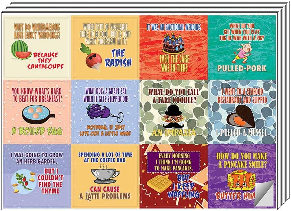 Creanoso Funny Food Puns Jokes Stickers (5-Sheet) – Total 60 pcs (5 X 12pcs) Individual Small Size 2.1