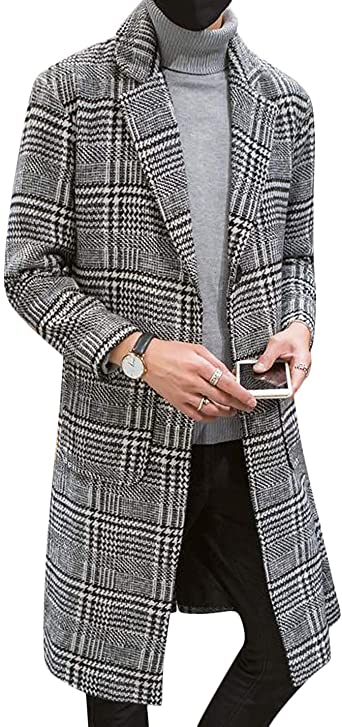 FRPE Men Lapel Wool-Blend Single-Breasted Long Jacket Trenchcoat Pea Coat
