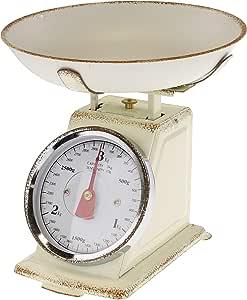 MACOSA SA7972 - Báscula de cocina con cuenco para pesar, hasta 3 kg, diseño vintage, color beige: Amazon.es