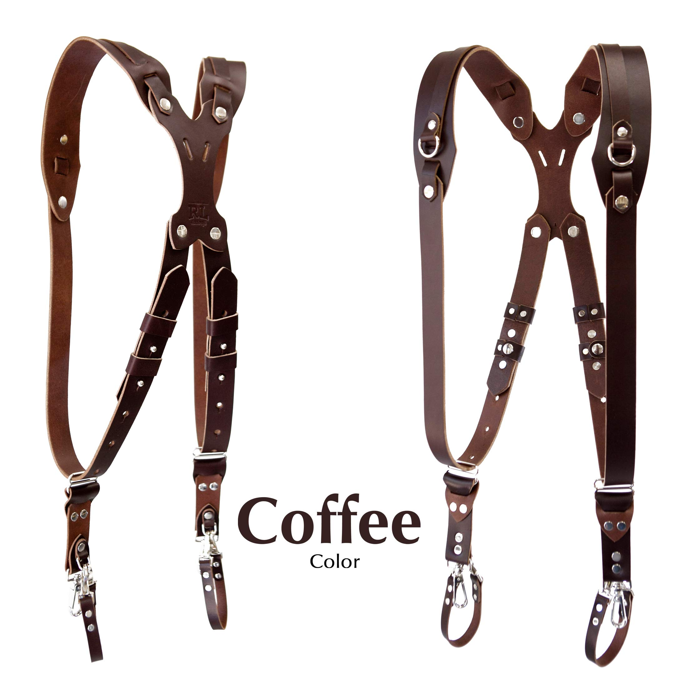 Clydesdale Pro-Dual Handmade Leather Camera Harness, Sling & Strap RL Handcrafts. DLSR, Mirrorless, Point & Shoot Made in The USA (Coffee, Small) by Republic Leather Company (Image #1)