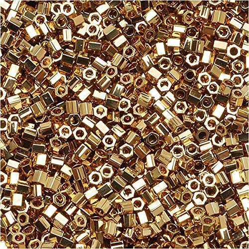 (Miyuki Delica Hex Cut Seed Beads 15/0 24K Light Gold Plated DBSC034 4 GR)
