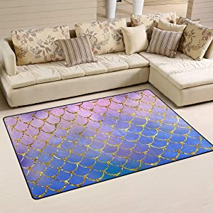 Non-Slip Area Rugs Home Decor, Colorful Mermaid Scales Floor Mat Living Room Bedroom Carpets Doormats Multi-Size