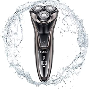 Electric Razor for Men,FlySpur 3D Shaver IPX7 Quick Rechargeable100% Waterproof Men's Rotary Shavers Wet & Dry Mens Razors Pop-up Trimmer with Time Display (Coffee)