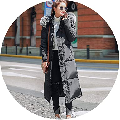 Every kind of beauty Hooded Fur Collar Winter Down Coat Jacket Long Thick Warm Women Casaco