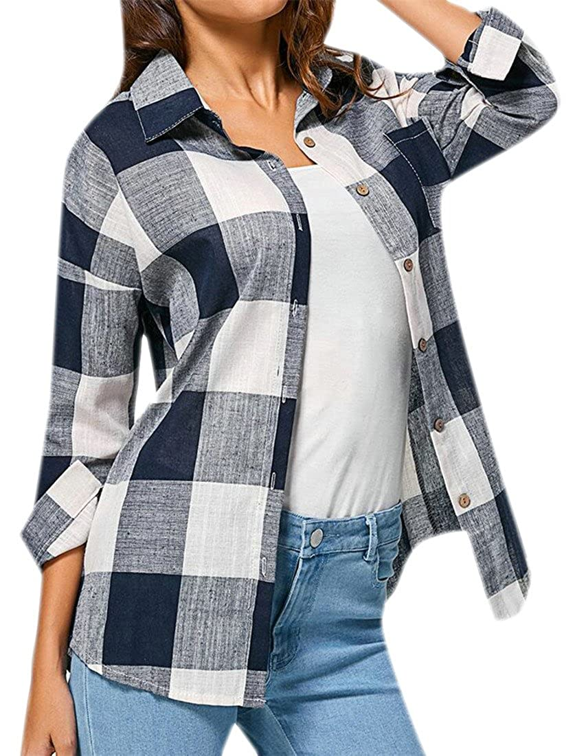 Cromoncent Mens Plaid Button Down Fleece Long-Sleeve Slim Shirt