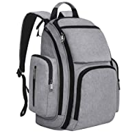 Rucksack Changing Bag, Mancro Diaper Bag Baby Nappy Backpack w/ Changing Mat for Mom & Dad, Organizer Multi-Function Water Resistant Travel Backpack w/ Stroller Straps / Insulated Pocket for Baby Care, Grey