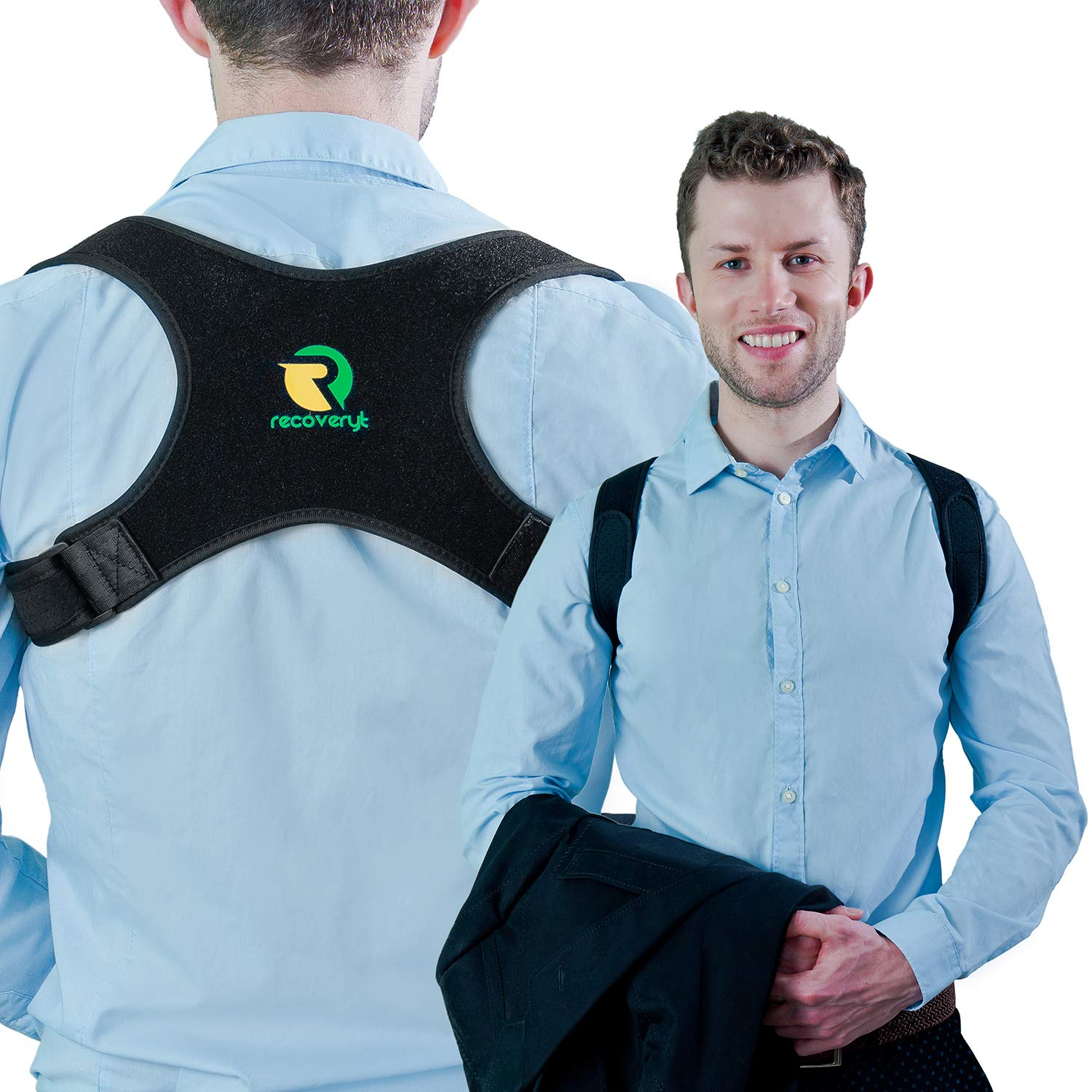 Back Posture Corrector for Men and Women by Recoveryt - Adjustable Upper Back Brace for Shoulder Pain Relief - Helps Correct Slouching by Stretching Upper Body Muscles - Easy to Wear and Comfortable by Recoveryt