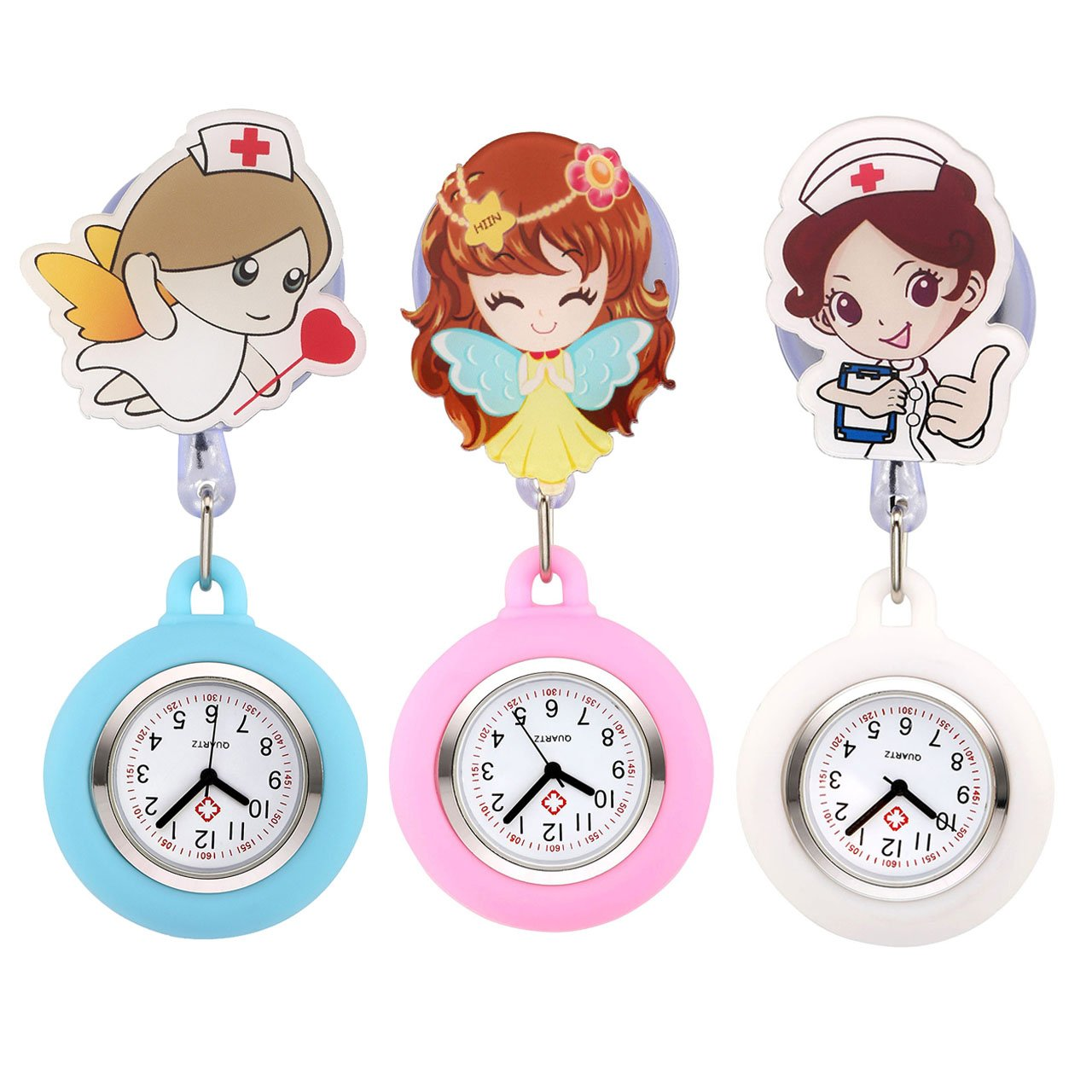 Top Plaza Girls' Kid's Cute Lovely Cartoon Angel Silicone Nurse Clip-on Fob Brooch Hanging Easy Pull Clasp Stretch Analog Quartz Pocket Watches,Set of 3#1