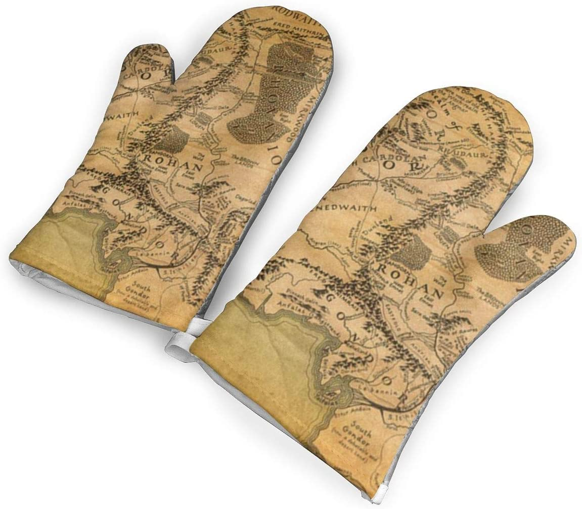Lord of The Rings Map Kitchen Oven Mitts, Cotton Long Microwave Oven Gloves, Extreme Heat Resistant 572 Degrees Nonslip Gloves for Potholders Cooking, BBQ, Frying, Baking (1 Pair)